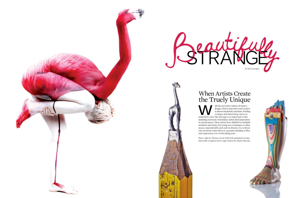 Pages 1-2 of Beautifully Strange Magazine Design