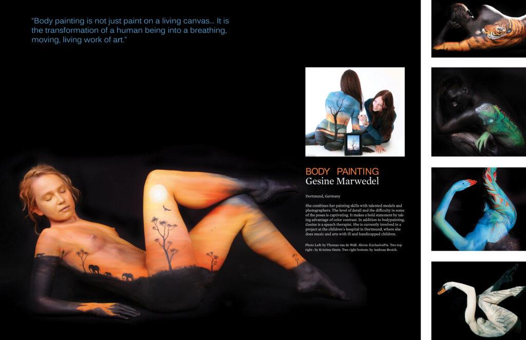 Pages 3-4 of Beautifully Strange Magazine Design