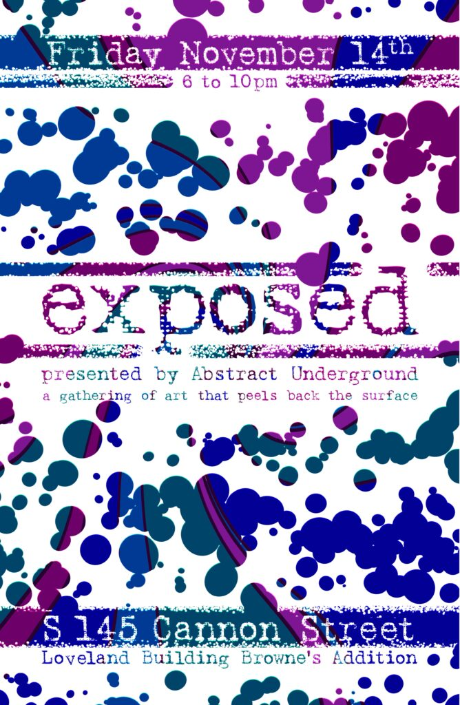 """The word """"exposted"""" and paint splotches revealing a colorful pattern.."""