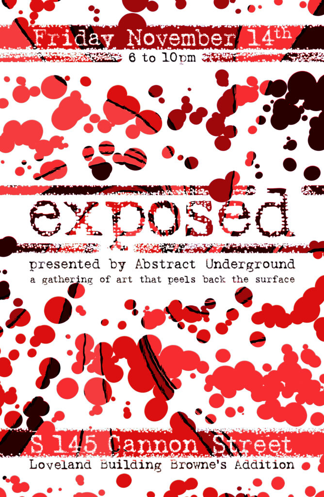 """The word """"exposted"""" and paint splotches revealing a red pattern."""