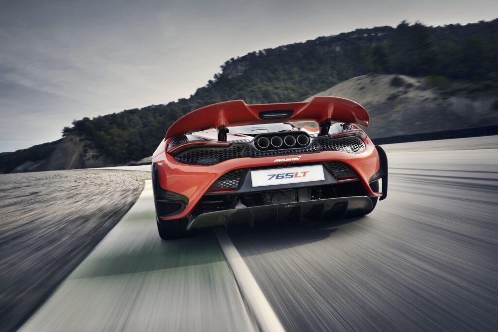 McLaren 765LT rear wing on track.