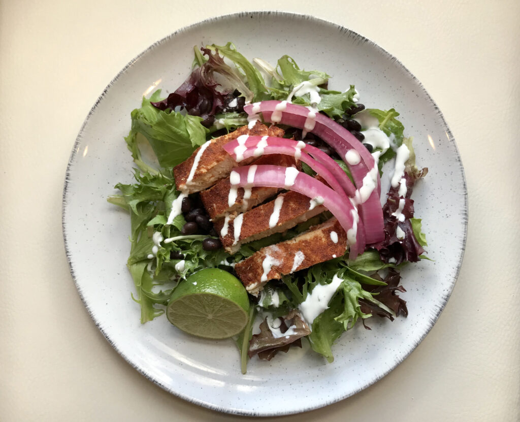 Chicken Taco Salad with Quick Pickled  Red Onions