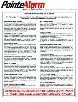 Pointe Alarm General Procedures