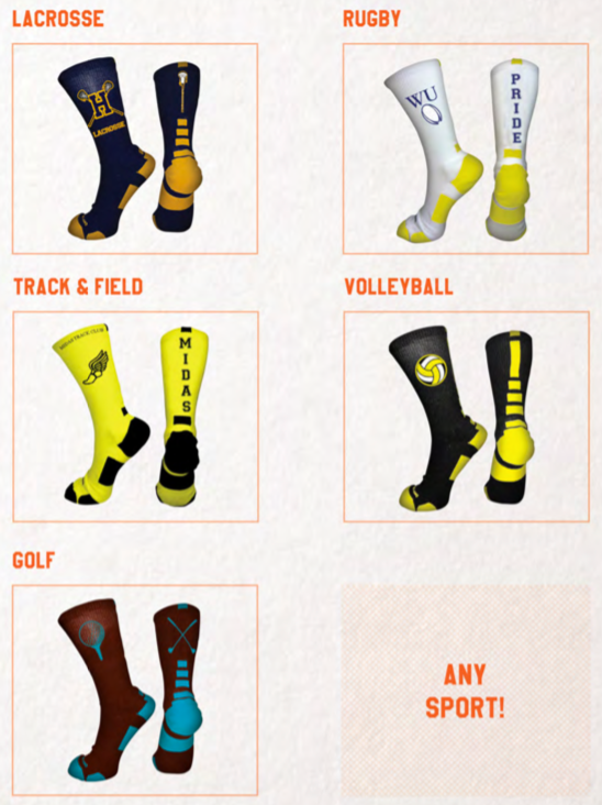 sales materials sock samples for any sport