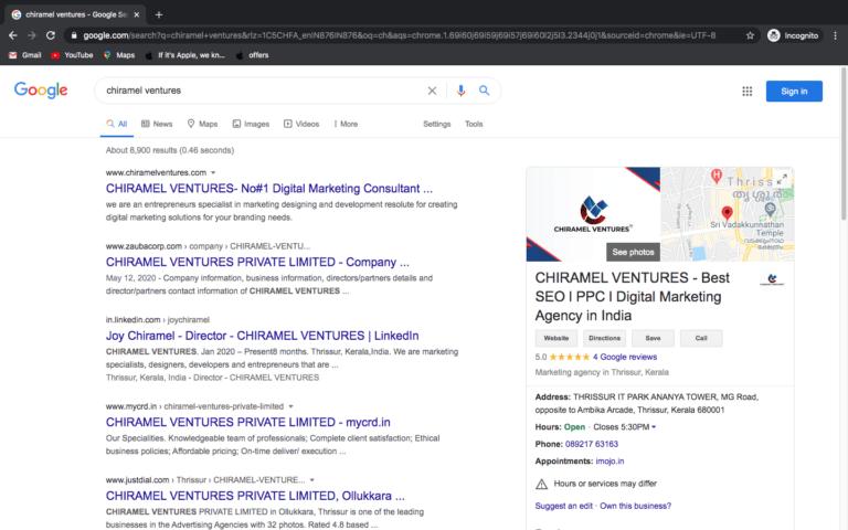 seo services - chiramel ventures