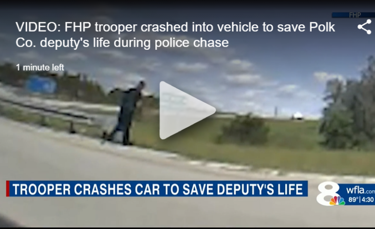 VIDEO: FHP trooper crashes into vehicle to save Polk Co. deputy's life during police chase