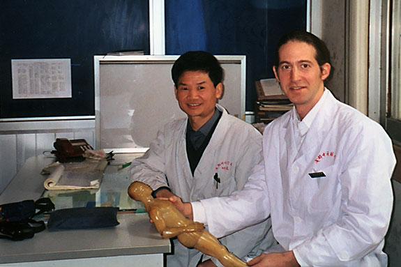 Dr. Wu and Joseph LaVine, LMT at Chengdu University 2003