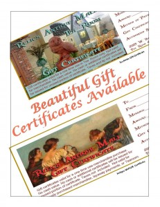 Relics Antique Mall and Relics Antique Mall Tea Room Beautiful Gift Certificates are perfect for friends, teachers, relatives, and to request for yourself!