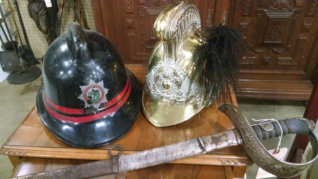 Antique Fire Helmets and Sword