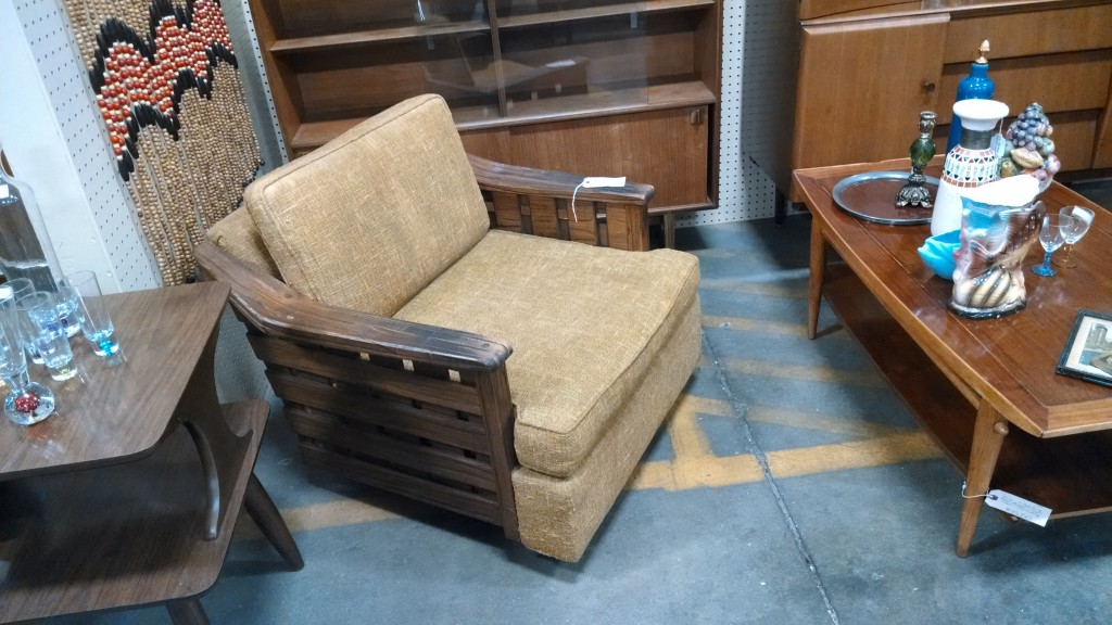 Mid Century Wooden Slat Sides with gold upholstry Chair