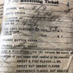 A ticket showing the pickup of sweet cream from the farm.