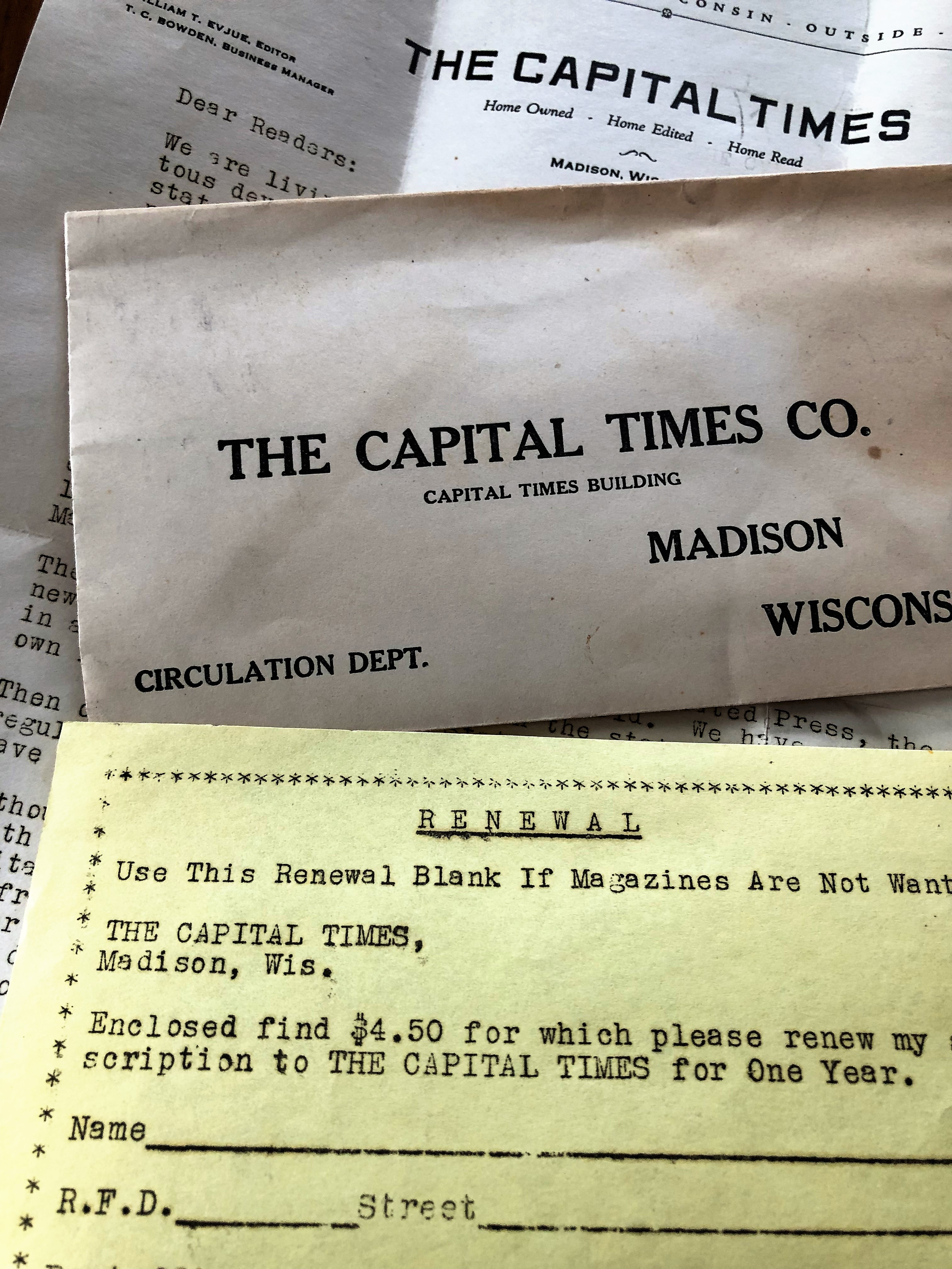 A circulation letter from the Capital Times newspaper.