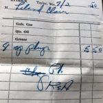 A receipt for spark plugs.