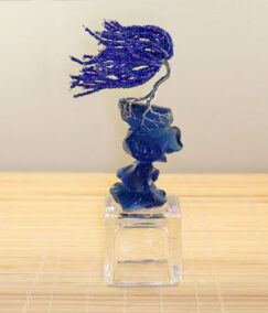 Blue Wire Sculpted Tree Named Depth