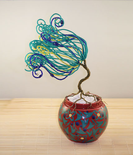 In Coordination- Green, Blue and Red Wire Sculpted tree