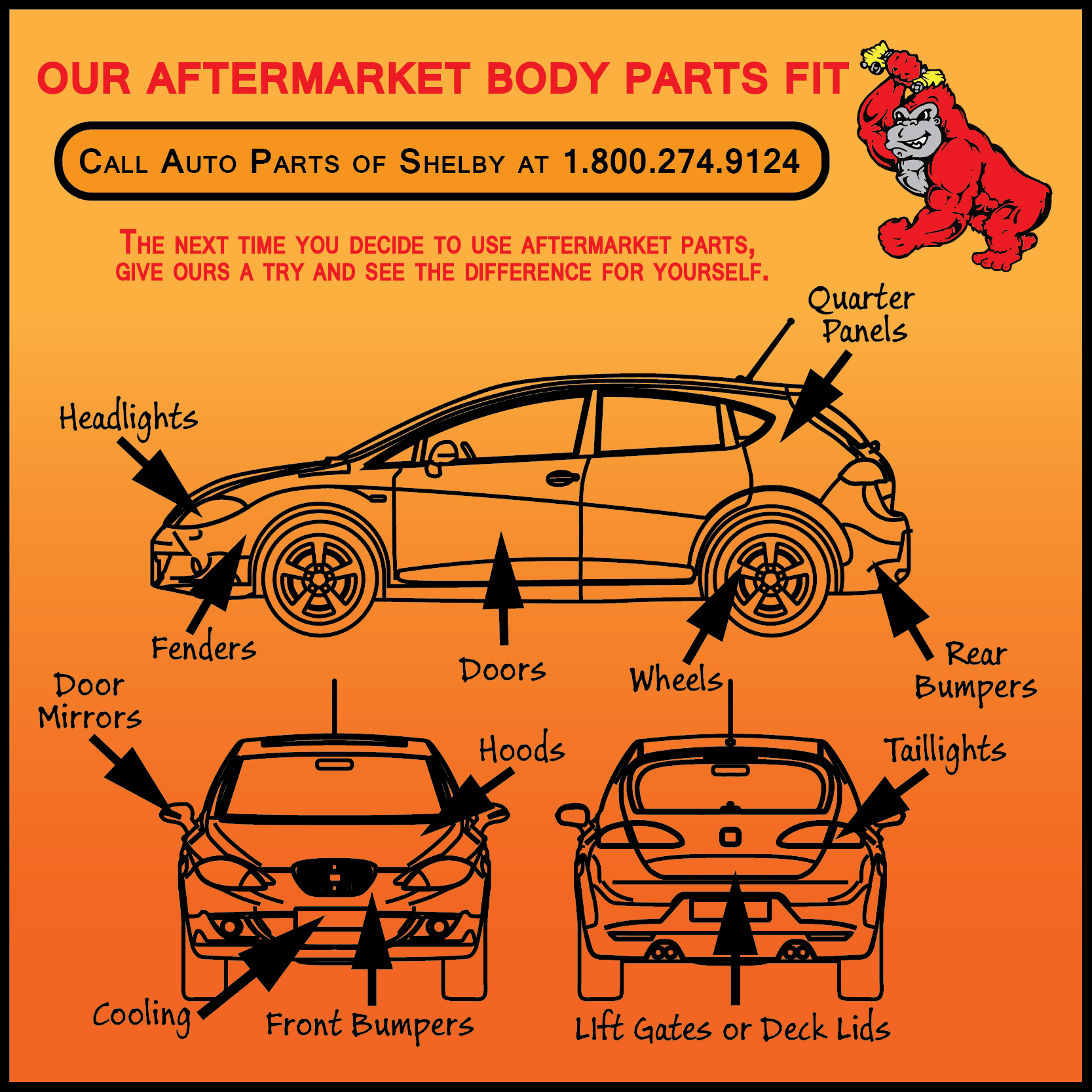 Aftermarket body parts for salee