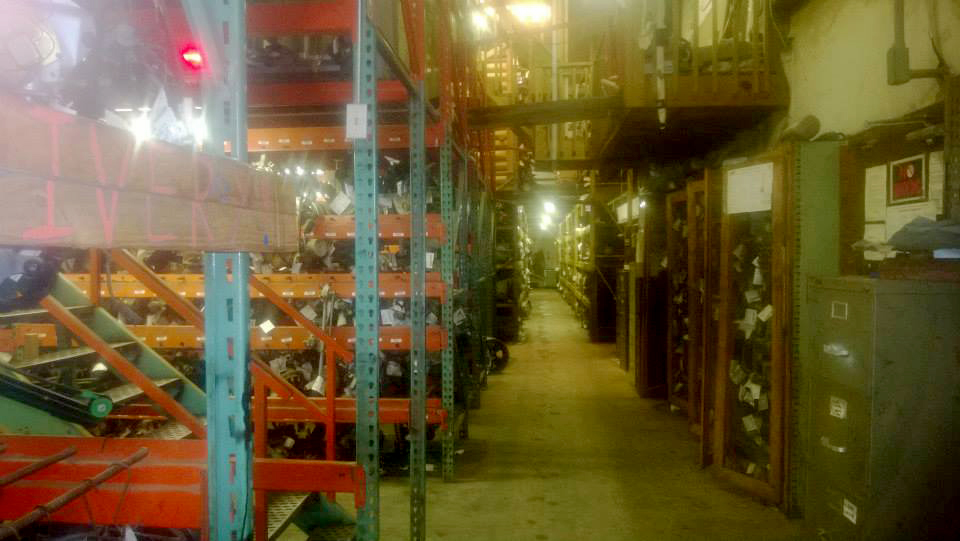 Entering one side of the warehouse