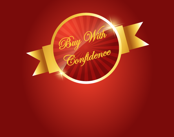 Buy With Confidence red and gold medallion with red background