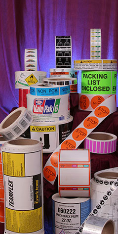 Various Labels created by a labeling company near St. Louis, MO