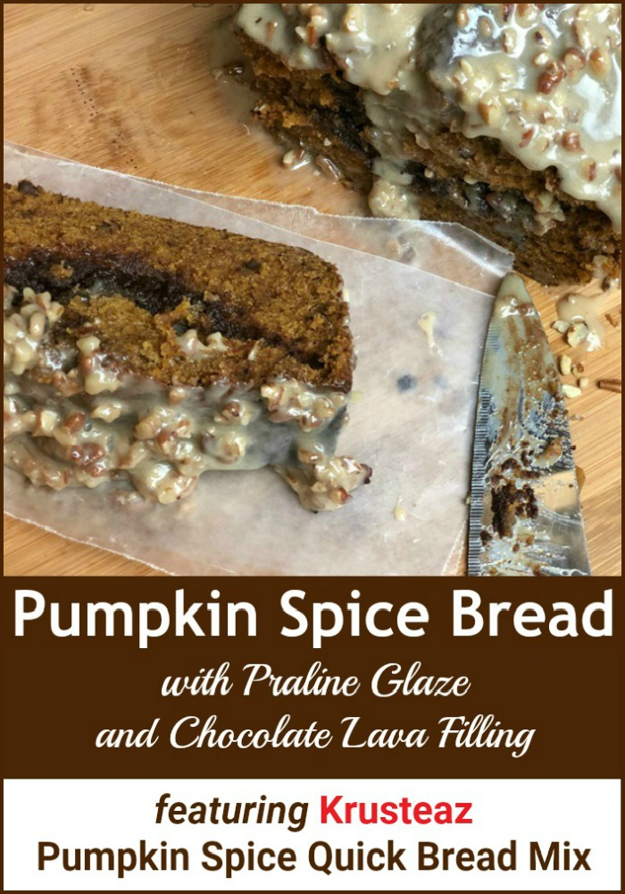Pumpkin Spice Bread with Praline Glaze and Chocolate Lava Filling featuringKrusteaz Quick Bread Mix banner
