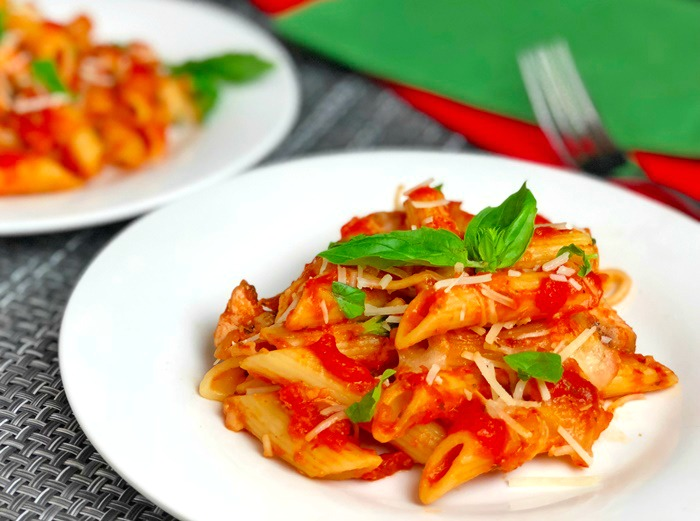 Cheesy Parmesan Chicken and Penne Pasta