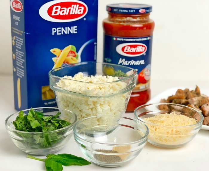 Cheesy Parmesan Chicken and Penne Pasta ingredients