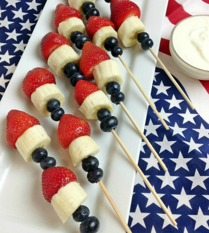 Red, White, and Blue Fruit Skewers with Dip