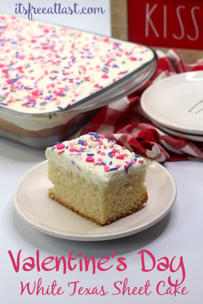 Valentine's Day White Texas Sheet Cake