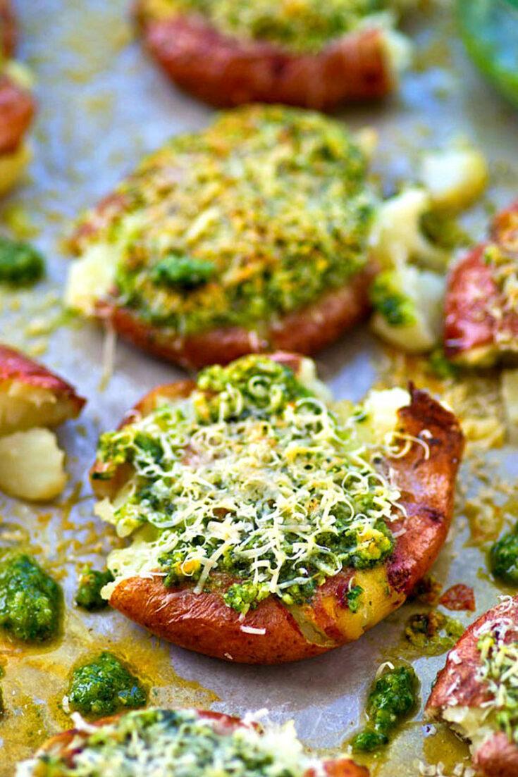 Parmesan Basil Pesto Smashed Red Potatoes