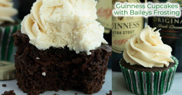 Guinness Cupcakes with Bailey's Frosting