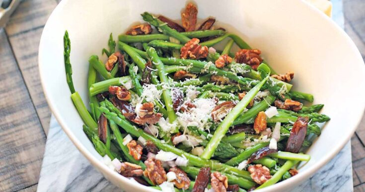 Warm Asparagus Salad with Dates, Roasted Walnuts, and Pecorino Cheese