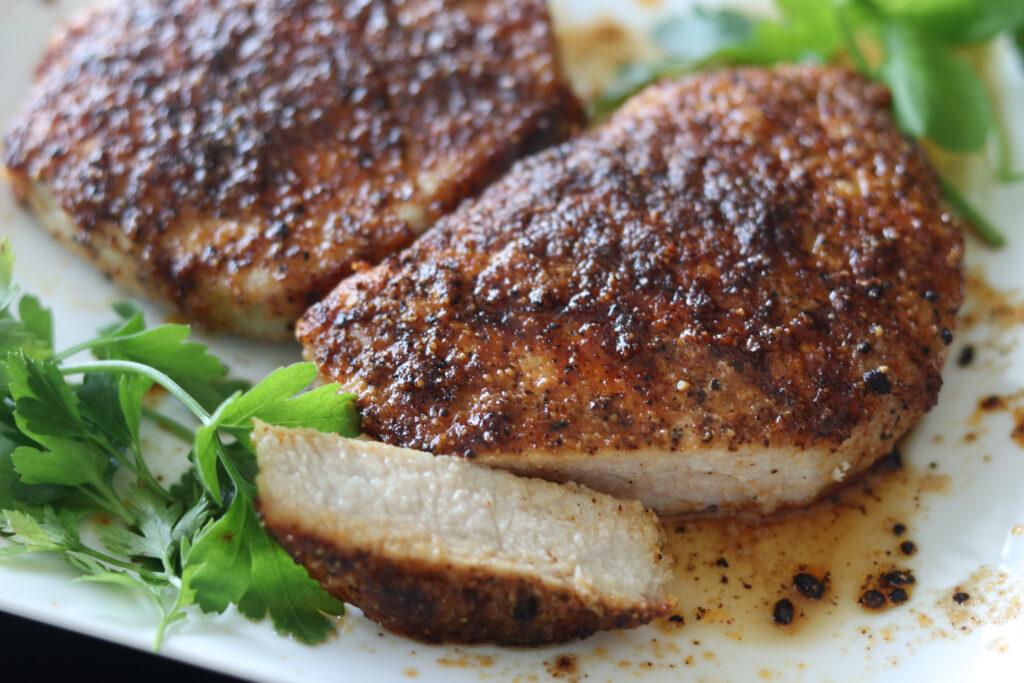 JUICY Air Fryer Pork Chops Recipe with Rub