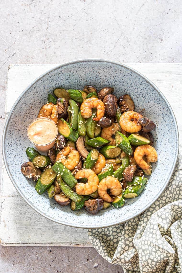 Air Fryer Hibachi Shrimp Dinner