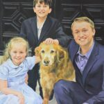 Custom family portrait with a pet dog