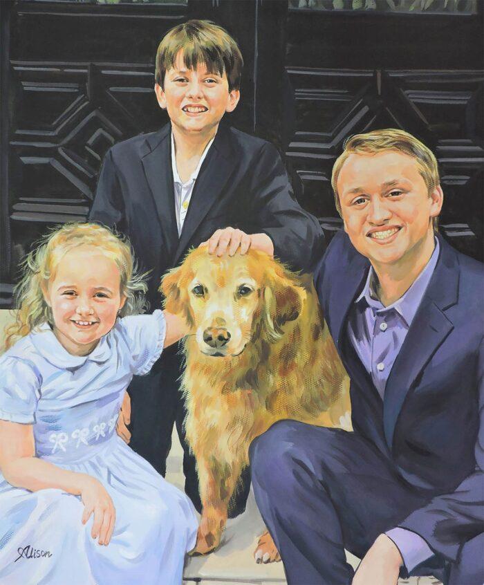 Custom family portrait with a pet dog