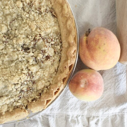 Peach Pie with shortbread topping