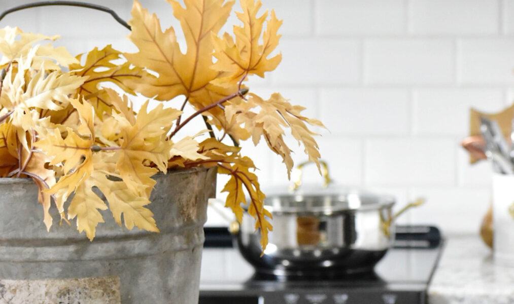 fall kitchen tour with touches of copper and green