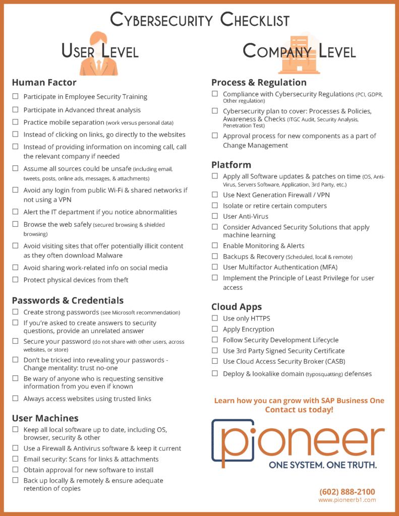 Cyber Security printable Checklist