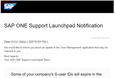 Image of the SAP ONE Support Launchpad Notification sent to expiring S-User holders