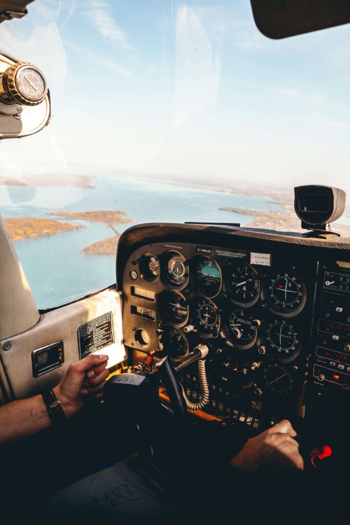 Pilot in Cockpit Flying