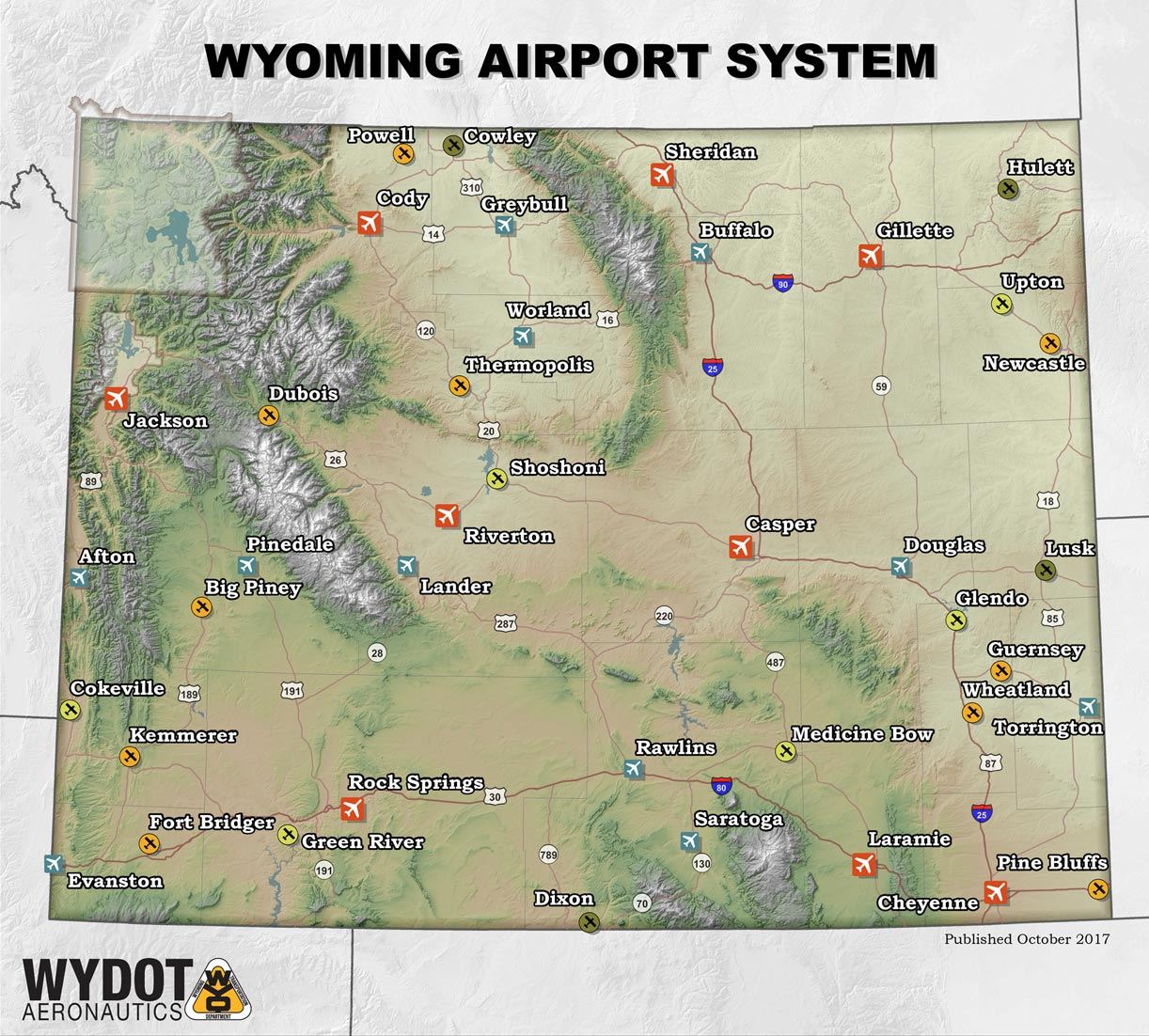 Wyoming Airport System Map