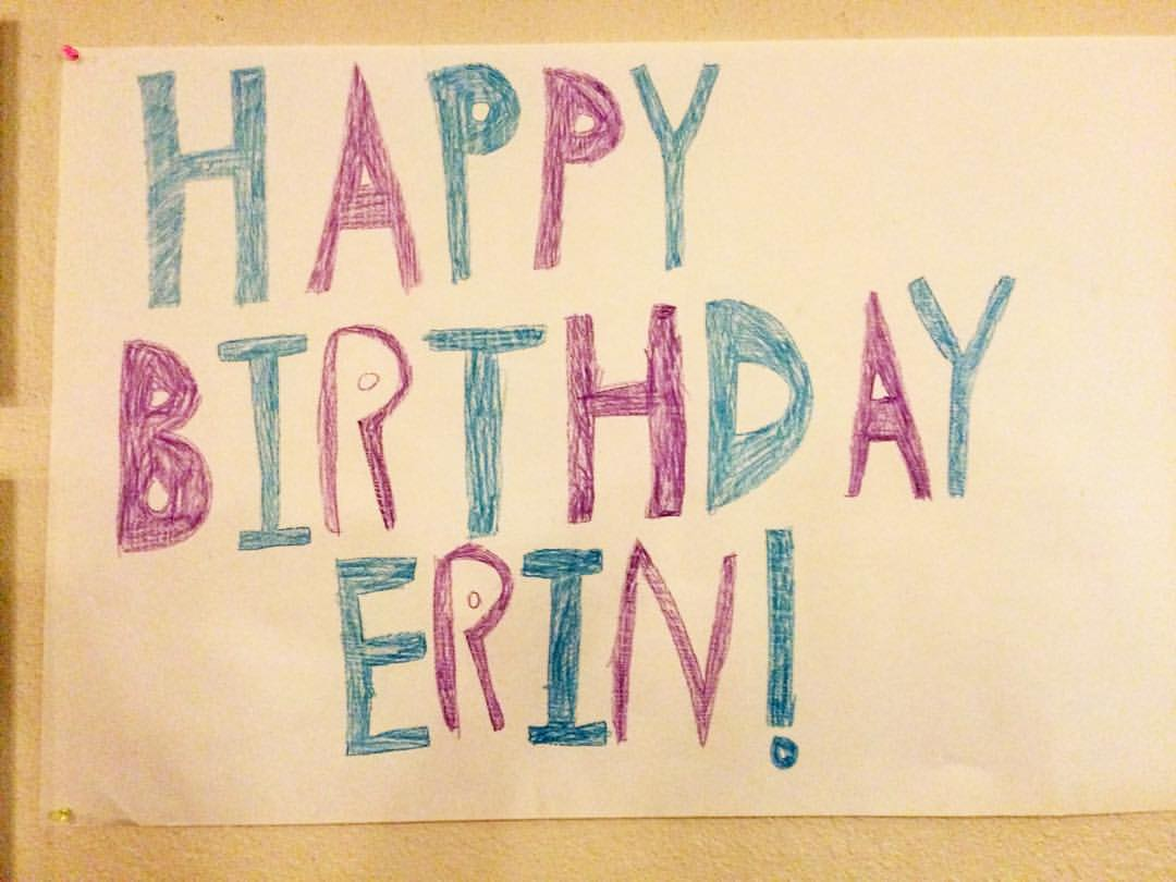hand made happy birthday sign