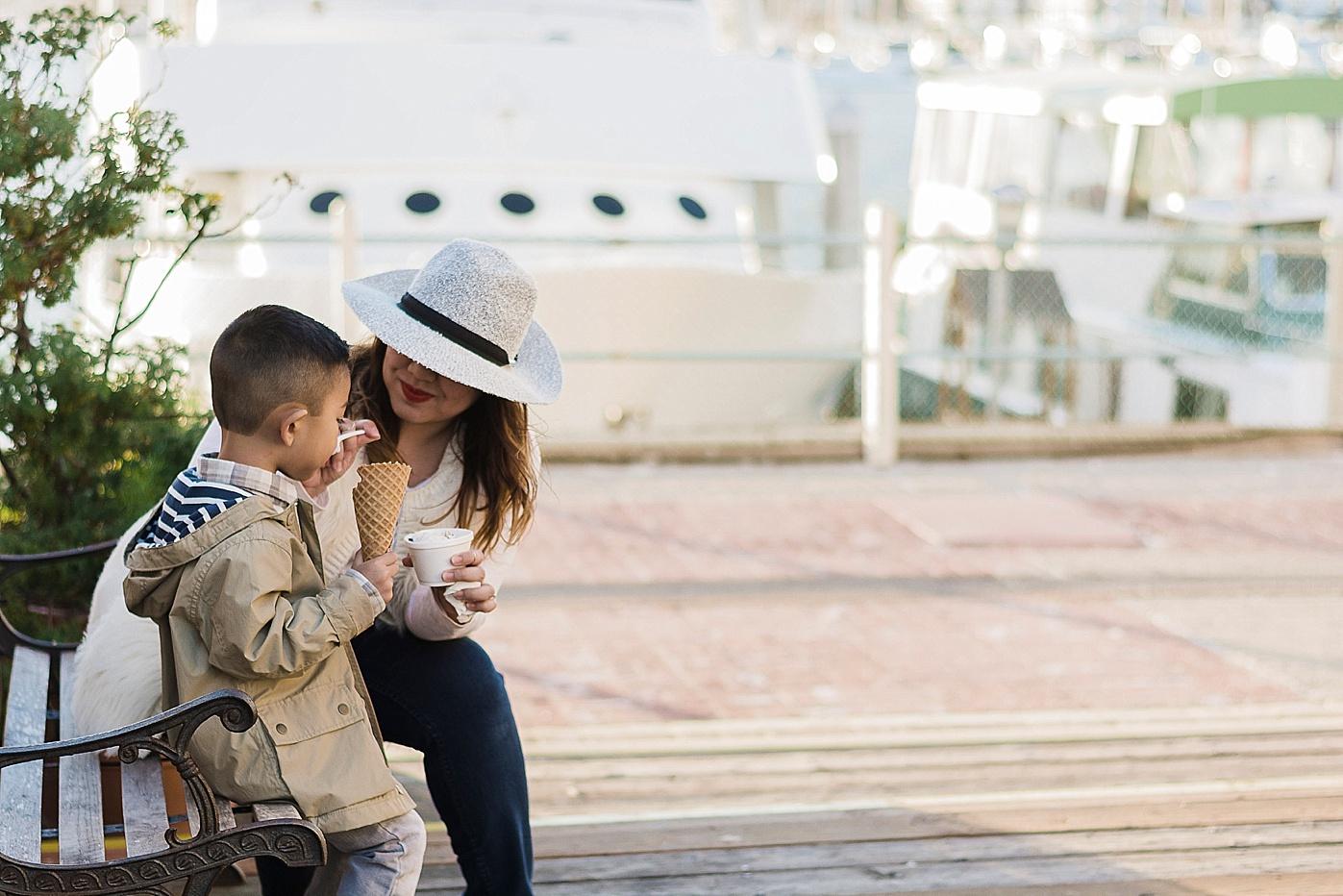 mom and son ice cream boats los angeles documentary family photography