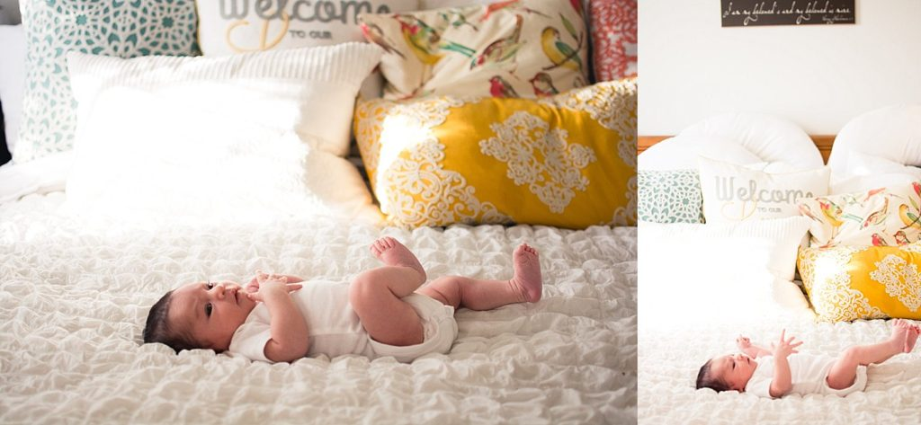 Newborn baby girl on bed at home captured grace by erin