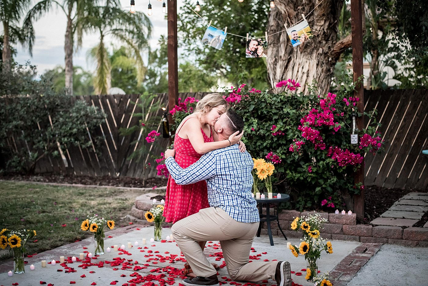 man and woman kiss after backyard proposal redlands family photographer