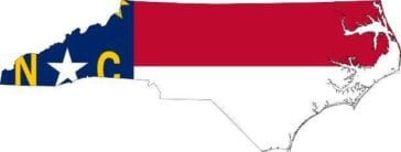 nc political flag, red, white and blue