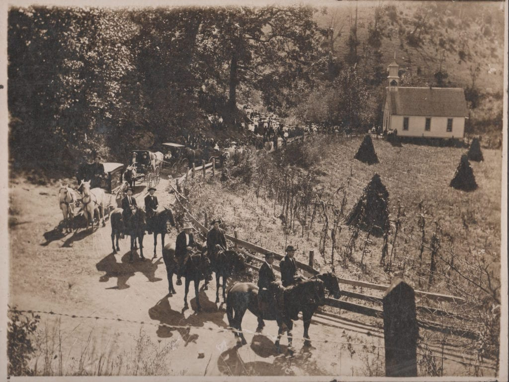 1907 Woody Funeral Procession with Horse Drawn Hearse at Jones Valley Baptist Church, Sandy Mush, NC - Photo Courtesy of Neal Woody