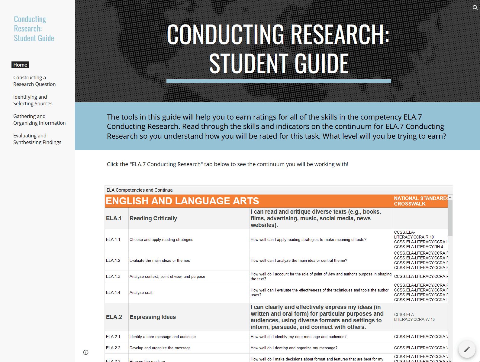Student Guide: Conducting Research