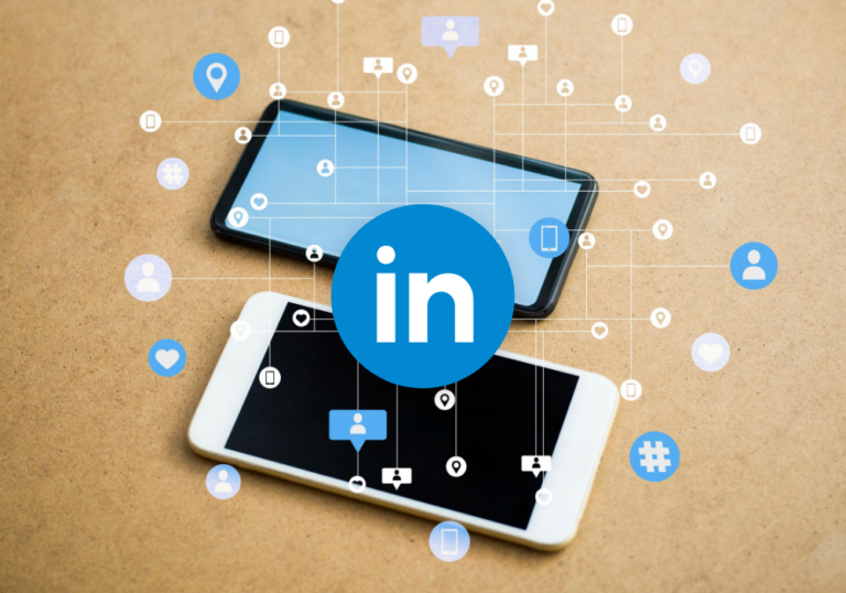 two phones with social icons. Linkeidn