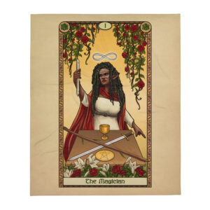 Tabletop Tarot – The Magician 50″x60″ Throw Blanket